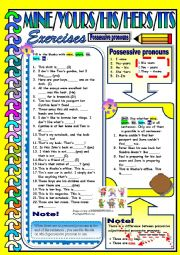 English worksheet: Possessive Pronouns - Mine / Yours / His / Hers / Its
