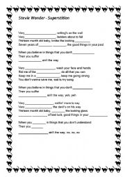 English Worksheet: Stevie Wonder - Superstition