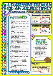 English Worksheet: Possessive Pronouns and Adjectives