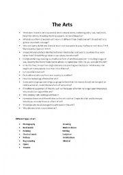 English Worksheet: Trinity - The Arts