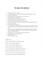 English Worksheet: Trinity - The rights of the individual