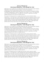 English Worksheet: Amish - History & recipe of whoopie pies