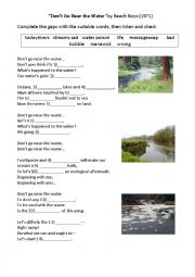 English Worksheet: Topic: Water Pollution (song task)
