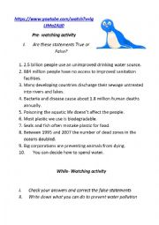 English Worksheet: Topic: Water Pollution (video task)