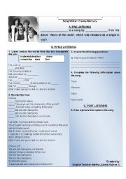 English Worksheet: We are the champions by Queen
