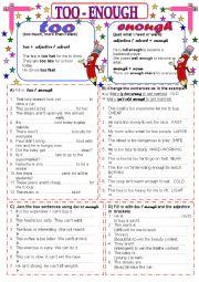 English Worksheet: Too - Enough 1