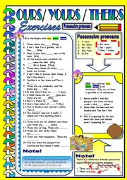 English Worksheet:  	Possessive Pronouns - Ours / Yours / Theirs