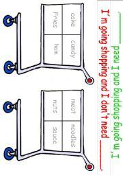 English Worksheet: Shopping Game (Food) 2 editbale