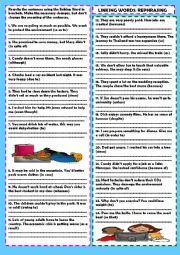 English Worksheet: Linking words rephrasing+ Key