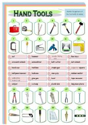 English Worksheet: Hand Tools - (2) Quiz