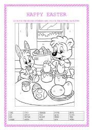 English Worksheet: easter eggs colouring