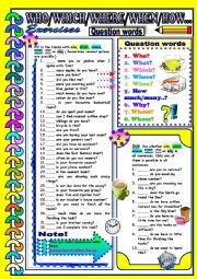 English Worksheet: Question words - WHO / WHICH / WHERE / WHEN / HOW / WHY...