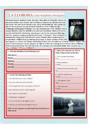 English Worksheet: Scary Urban Legend  LA LLORONA