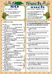 English Worksheet: SO - SUCH with KEY