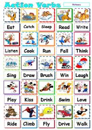 English Worksheet: action verb pictionary