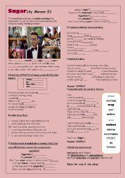 English Worksheet: SUGAR (Maroon 5)