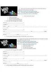 Inside Out Movie Trailer Esl Worksheet By Teacherlucre