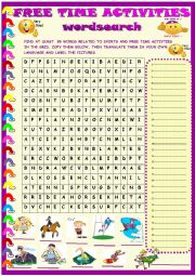 Sports and activities wordsearch with key