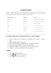 English Worksheet: ADVERBS OF DEGREE (NOTES)