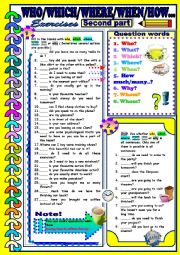 English worksheet: Question Words-When, Where, How many/much,Why...Second part