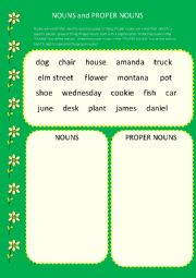 English Worksheet: Nouns and proper nouns
