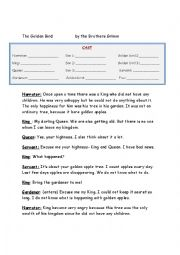 English Worksheet: Script of Play (Golden Bird by Grimm Brothers)