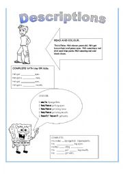 English Worksheet: Descriptions, have/has got, parts of the face, clothes, big/little