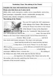 English Worksheet: The sinking of the Titanic
