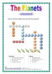 English Worksheet: The planets - crossword - version 1