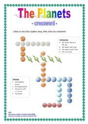 English Worksheet: The planets - crossword - version 2