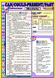 English Worksheet: Modals - CAN/CAN�T/COULD/COULDN�T