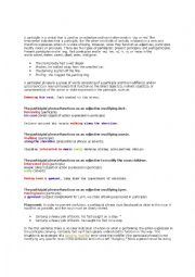 english worksheets the participial phrase. Black Bedroom Furniture Sets. Home Design Ideas