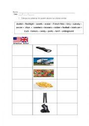 English Worksheet: British or American?