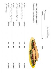 English Worksheet: Sandwich poem