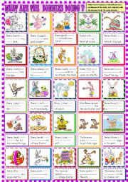 English worksheet: What are the bunnies   doing? Present continuous for young learners