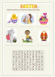 English Worksheet: EASTER pictures and word search