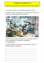 English Worksheet: Safety hazards speaking activity
