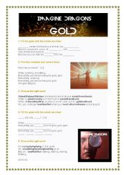English Worksheet: Song: Gold - Imagine Dragons