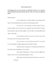 English Worksheet: Introductory letter
