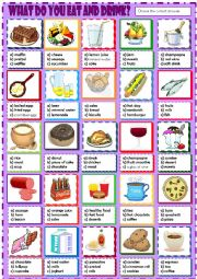 English Worksheet: What do you eat and drink?