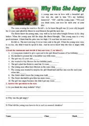 English Worksheet: WHY WAS SHE ANGRY