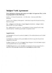 English Worksheet: Subject Verb Agreement (making short essay)
