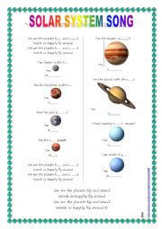 English Worksheet: Song for kids: Planets / Solar System song