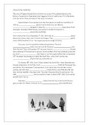 English Worksheet: A Race to the South Pole.