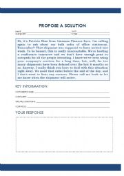 English Worksheet: TOEIC SPEAKING PART 5 (PROPOSE A SOLUTION)
