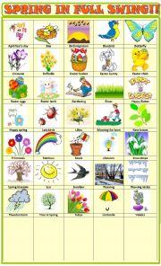 English Worksheet: Spring : pictionary