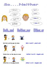 English Worksheet: So..Neither / Both..and / Neither..nor / Either..or