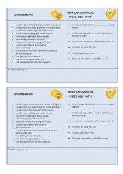 English Worksheet: Self evaluation promps