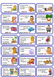 English Worksheet: For-since Card Game