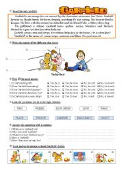 English Worksheet: Garfield - easy reading comprehension